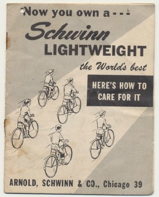 Vintage Schwinn Lightweight Bicycle Owner's Manual